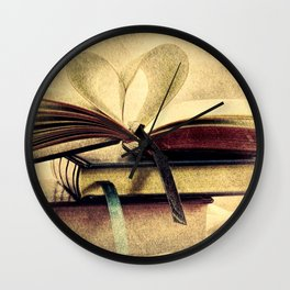 Book Heart Library Modern Cottage Chic Modern Country Art A448 Wall Clock