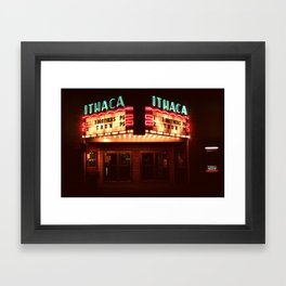 Night Lights Ithaca Theater Framed Art Print
