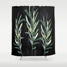 Eucalyptus Branches On Chalkboard Shower Curtain