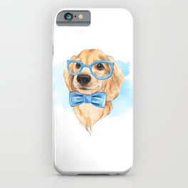 Cute dog. Blue bow tie. iPhone Case