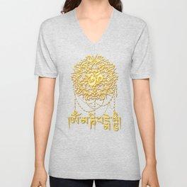 Mani Mantra With Mandala Unisex V-Neck