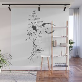 Abstract Floral Face Wall Mural