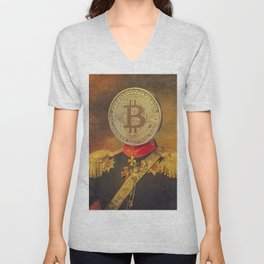 """Bit Coin Fanatic General   """"So Let Me Tell You About My Coin Base"""" Unisex V-Neck"""