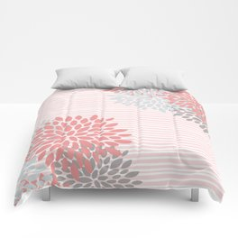 Floral Prints and Colorful Stripes, Coral and Gray, Colour Prints Comforters