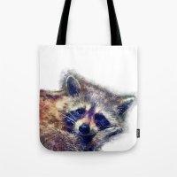 raccoon Tote Bags featuring Raccoon  by jbjart