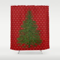 christmas tree Shower Curtains featuring *(Christmas) Tree* by Mr and Mrs Quirynen