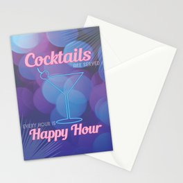 Happy Hour Cocktails Neon Sign Stationery Cards