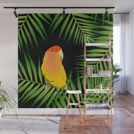 Lovebird Parrots in Green Palm Leaves on Black Wall Mural