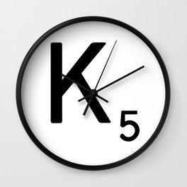 Letter K - Custom Scrabble Letter Tile Art - Scrabble K Wall Clock