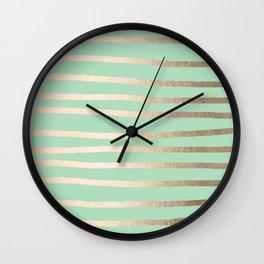 Stripes Metallic Gold Mint Green Wall Clock