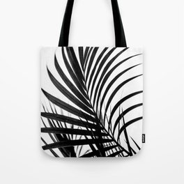 Simple palm leaves paradise in black Tote Bag