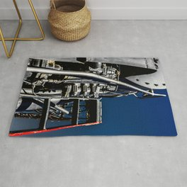 Vintage Steam Engine Locomotive Abstract Rug
