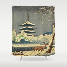 Asano Takeji Sarusawa Pond Japanese Woodblock print Winter Snow Landscape Pagoda With Deers Shower Curtain