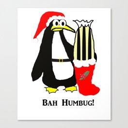 Bah Humbug Christmas Penguin Canvas Print
