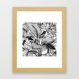 White Black Floral Minimalist Framed Art Print