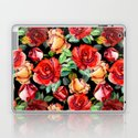Hand painted black red watercolor roses floral by pink_water
