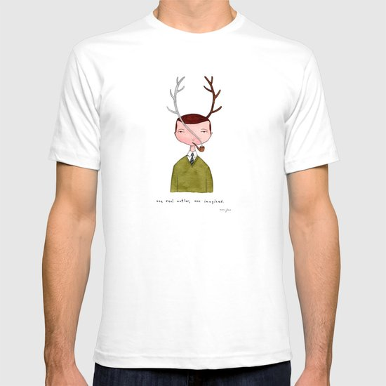 One real antler, one imagined T-shirt