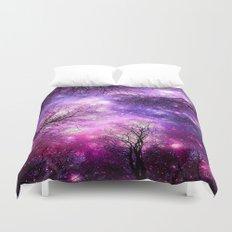 black trees fuchsia purple space Duvet Cover