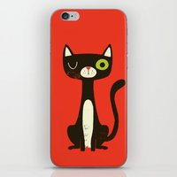 black cat iPhone & iPod Skins featuring Black Cat by Monster Riot