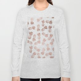Modern faux rose gold pineapples white marble pattern Long Sleeve T-shirt