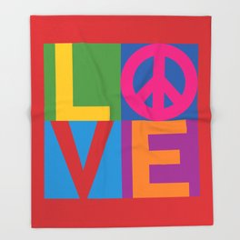 Love Peace Color Blocked Throw Blanket