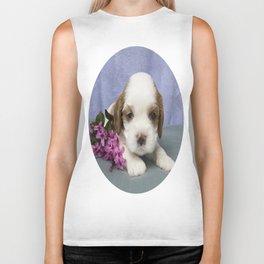 Puppy with flowers Biker Tank