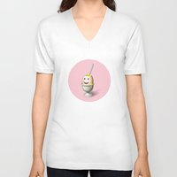 egg V-neck T-shirts featuring Egg by Krizan