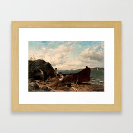 Hjalmar Munsterhjelm,    Fishing on the beach Framed Art Print