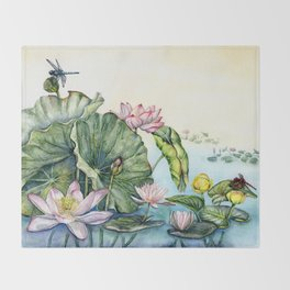 Japanese Water Lilies and Lotus Flowers Throw Blanket