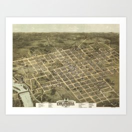 Vintage Pictorial Map of Columbia SC (1872) Art Print