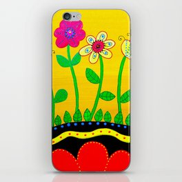 Mexican Folk Art Whimsical Flowers  Painting iPhone Skin