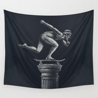 skateboard Wall Tapestries featuring The Skater by Peter Kramar