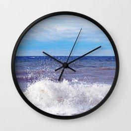 Wave Crashing onto the Beach Wall Clock