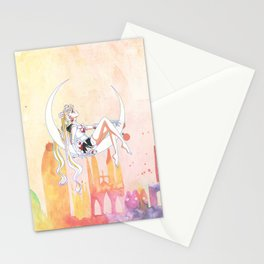 Can not Fight The Moonlight Watercolor Version Stationery Cards