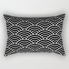 Japanese fan pattern in black Rectangular Pillow