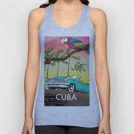 Cuba vintage travel poster print Unisex Tank Top