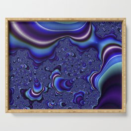 Fractal Art-Blue and Purple Infinity Serving Tray
