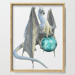 Winter Crystal White Dragon Serving Tray
