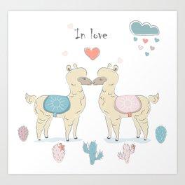 Llamas In Love Art Print