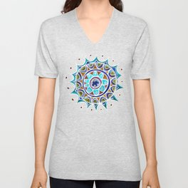 Color Star Mandala in Blue Unisex V-Neck