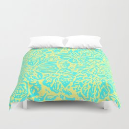 Marigold Lino Cut, Turquoise And Yellow Duvet Cover