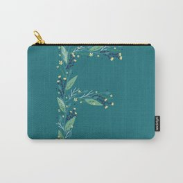 Turquoise flowers alphabet F Carry-All Pouch