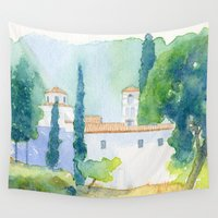 greek Wall Tapestries featuring Greek monastery by Carl Conway