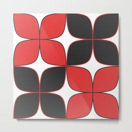 Mid-Century Modern Art - Flower Pattern Black Red Metal Print