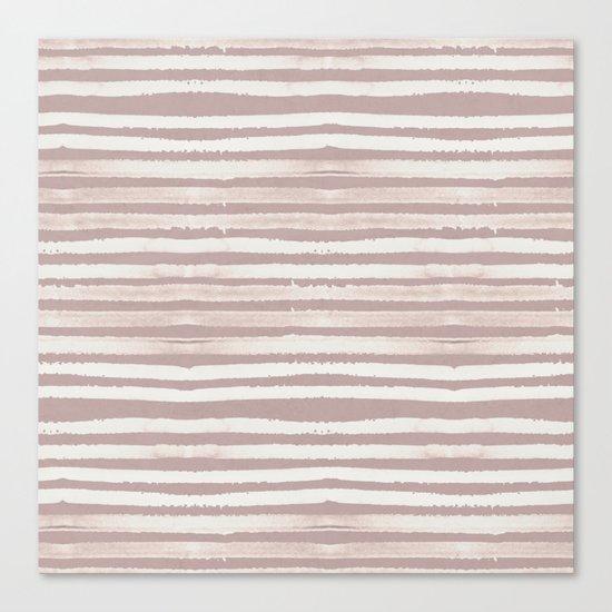 Simply Shibori Stripes Lunar Gray on Clay Pink Canvas Print