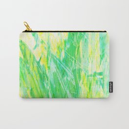 Grassy Abstract in Yellow Green Aqua White by Menega Sabidussi Carry-All Pouch