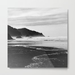 Black and White Seascape At Hug Point Metal Print