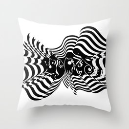 Psycho wave clear Throw Pillow