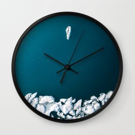Minimalist Ice Bergs in the blue Ocean - Aerial Photography Wall Clock