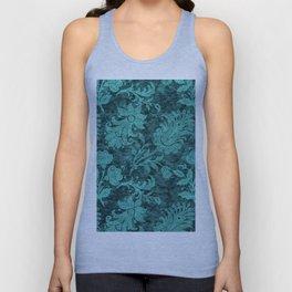 Burgundy Turquoise Velvet Floral Pattern 10 Unisex Tank Top